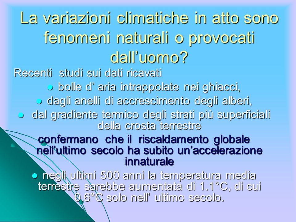 La variazioni climatiche in atto sono fenomeni naturali o provocati dalluomo? Recenti studi sui dati ricavati bolle d aria intrappolate nei ghiacci, b