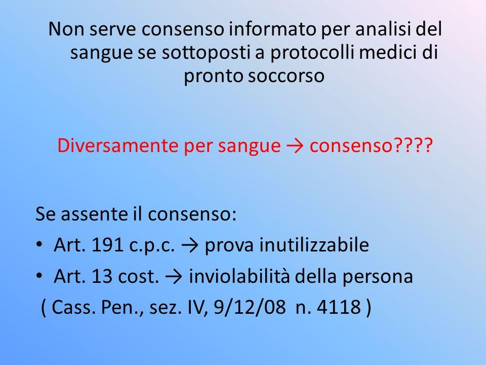Non serve consenso informato per analisi del sangue se sottoposti a protocolli medici di pronto soccorso Diversamente per sangue consenso???.