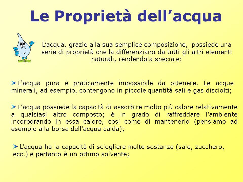 Le Proprietà dellacqua Lacqua ha la capacità di sciogliere molte sostanze (sale, zucchero, ecc.) e pertanto è un ottimo solvente; Lacqua, grazie alla