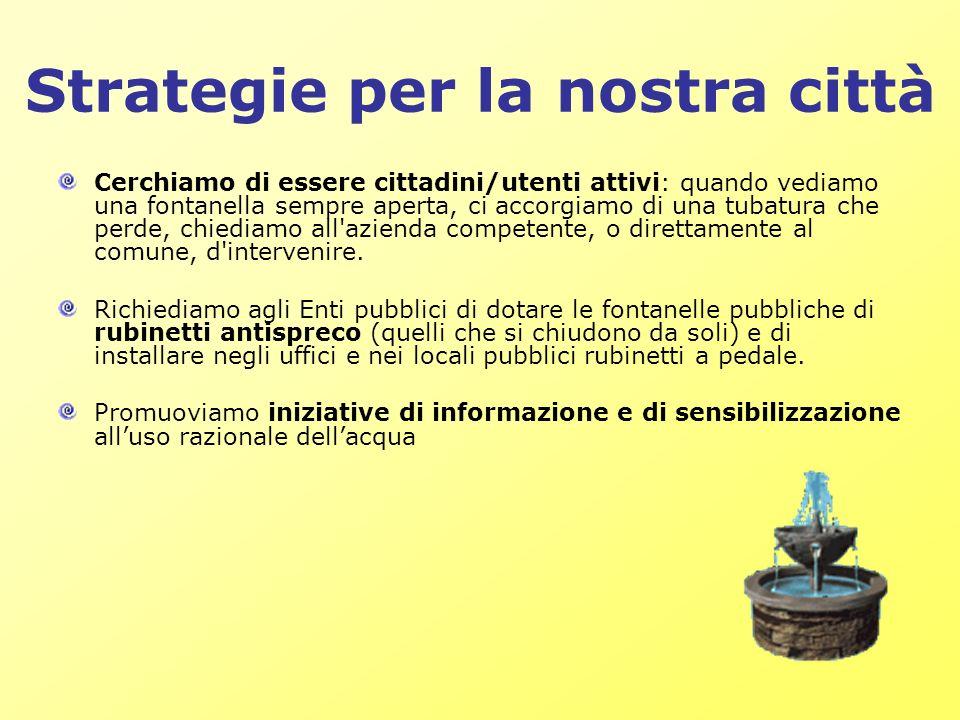 Strategie per la nostra città Cerchiamo di essere cittadini/utenti attivi: quando vediamo una fontanella sempre aperta, ci accorgiamo di una tubatura
