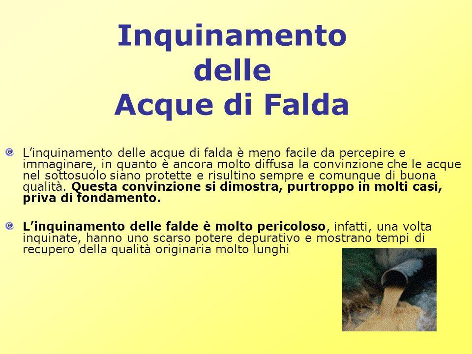 Inquinamento delle Acque di Falda Linquinamento delle acque di falda è meno facile da percepire e immaginare, in quanto è ancora molto diffusa la conv