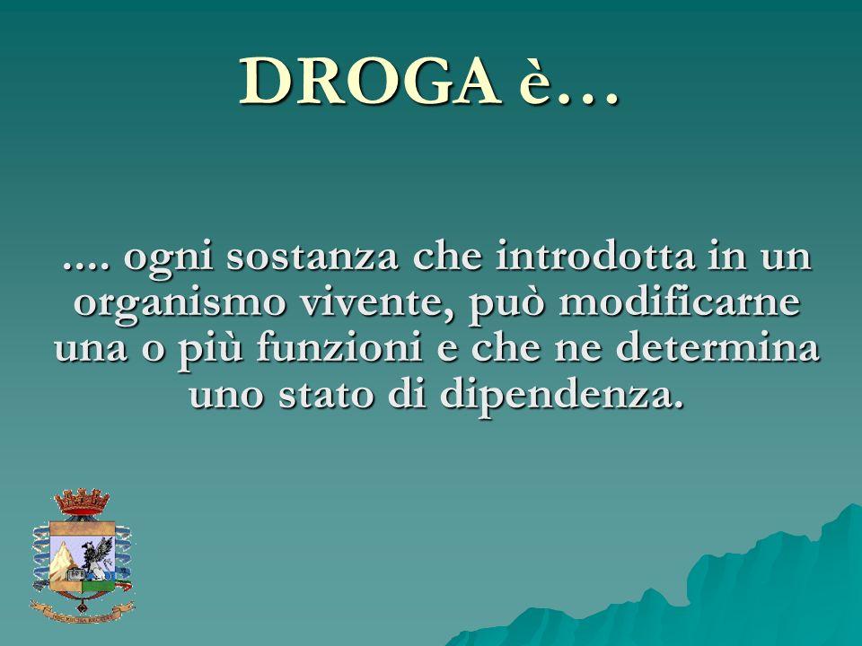 DROGA è….... ogni sostanza che introdotta in un organismo vivente, può modificarne una o più funzioni e che ne determina uno stato di dipendenza.