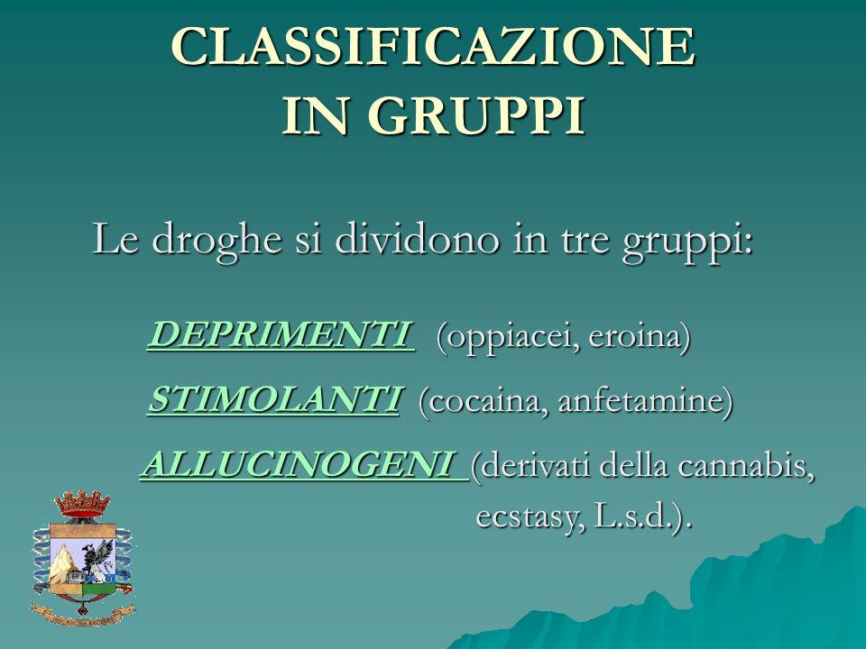 CLASSIFICAZIONE IN GRUPPI Le droghe si dividono in tre gruppi: ALLUCINOGENI (derivati della cannabis, ecstasy, L.s.d.). ecstasy, L.s.d.). STIMOLANTI (