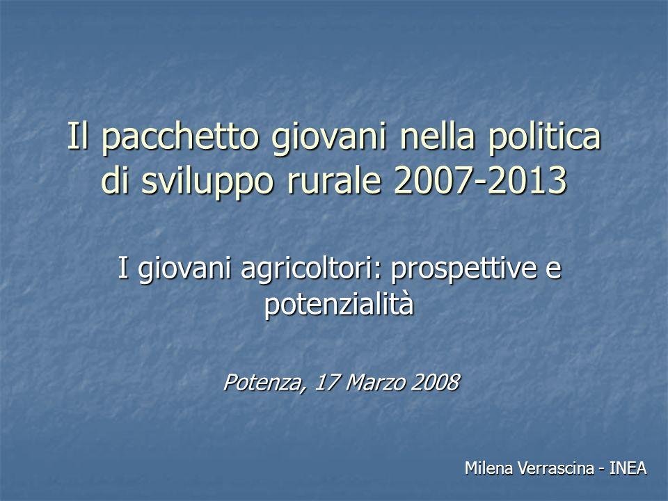Il pacchetto giovani nella politica di sviluppo rurale 2007-2013 I giovani agricoltori: prospettive e potenzialità Potenza, 17 Marzo 2008 Milena Verrascina - INEA