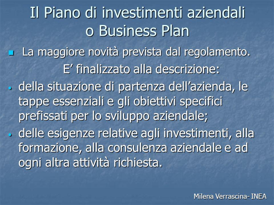 Il Piano di investimenti aziendali o Business Plan La maggiore novità prevista dal regolamento.