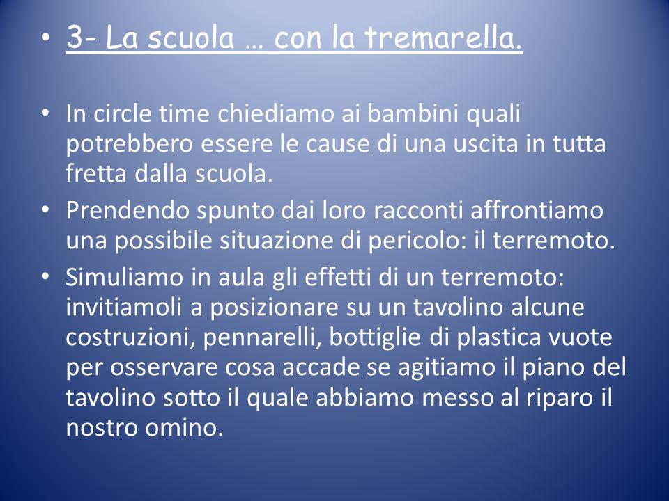 3- La scuola … con la tremarella. In circle time chiediamo ai bambini quali potrebbero essere le cause di una uscita in tutta fretta dalla scuola. Pre