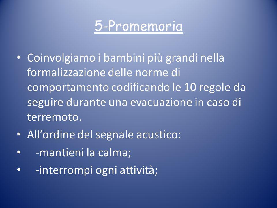 5-Promemoria Coinvolgiamo i bambini più grandi nella formalizzazione delle norme di comportamento codificando le 10 regole da seguire durante una evac