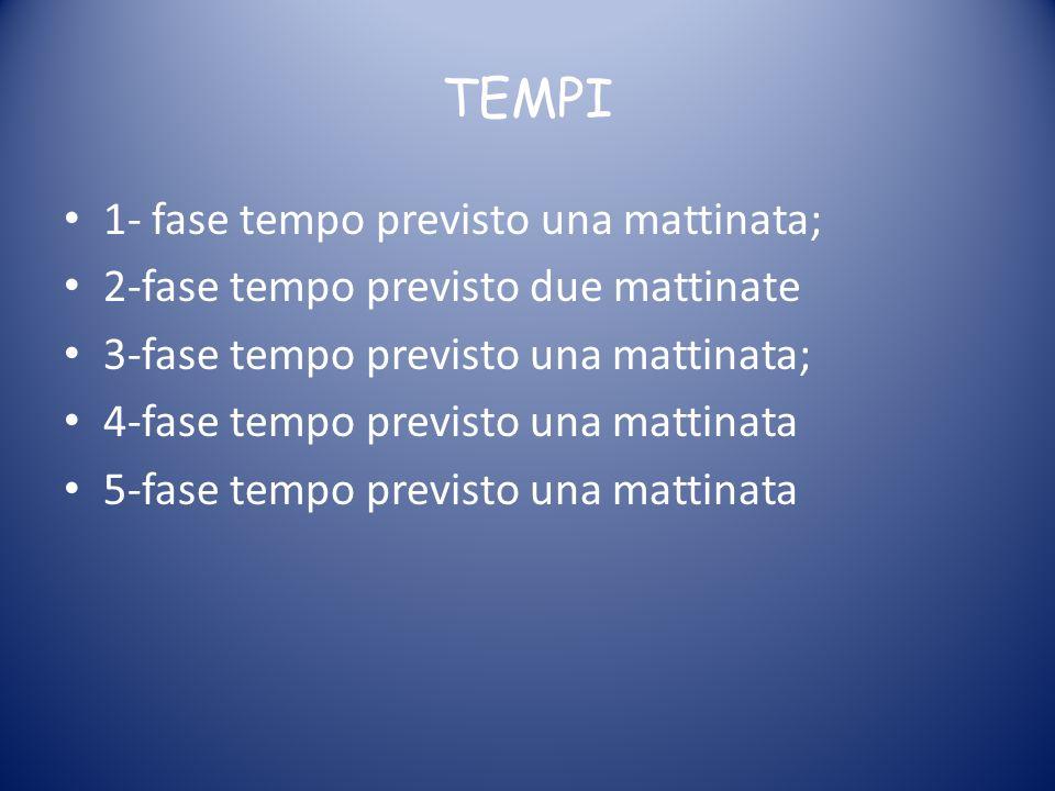 TEMPI 1- fase tempo previsto una mattinata; 2-fase tempo previsto due mattinate 3-fase tempo previsto una mattinata; 4-fase tempo previsto una mattina