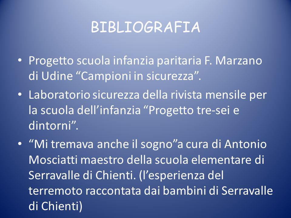 BIBLIOGRAFIA Progetto scuola infanzia paritaria F. Marzano di Udine Campioni in sicurezza. Laboratorio sicurezza della rivista mensile per la scuola d