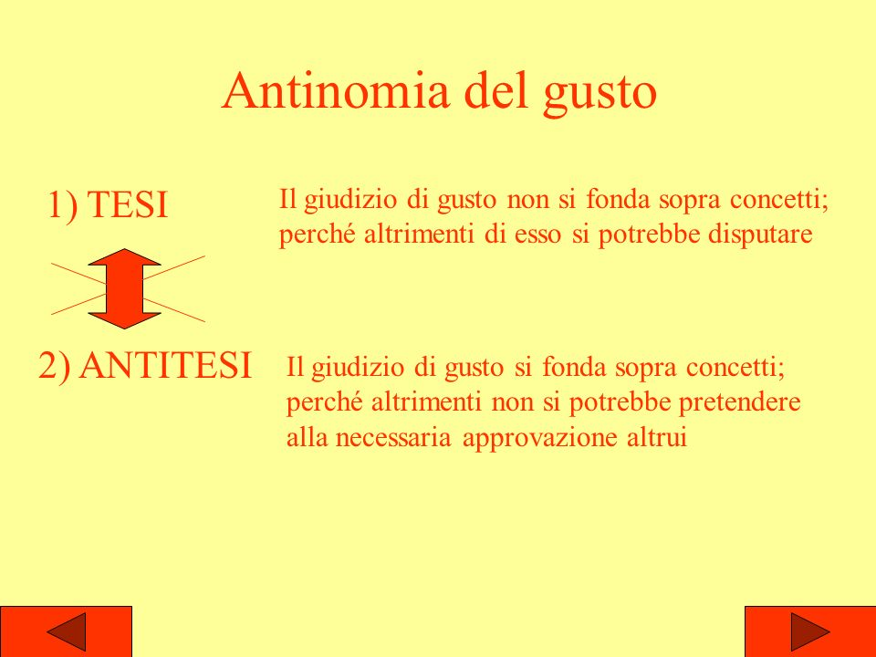 Antinomia del gusto 1) TESI 2) ANTITESI Il giudizio di gusto non si fonda sopra concetti; perché altrimenti di esso si potrebbe disputare Il giudizio