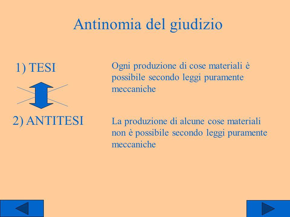 Antinomia del giudizio 1) TESI 2) ANTITESI Ogni produzione di cose materiali è possibile secondo leggi puramente meccaniche La produzione di alcune co