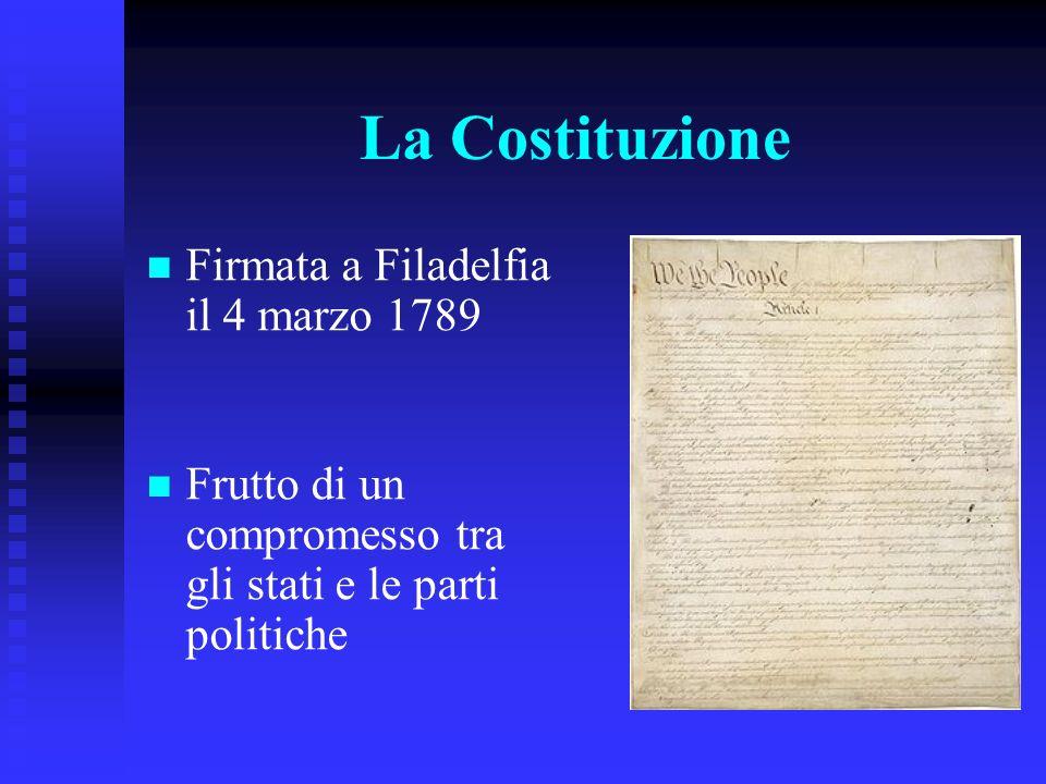 La Costituzione Firmata a Filadelfia il 4 marzo 1789 Frutto di un compromesso tra gli stati e le parti politiche
