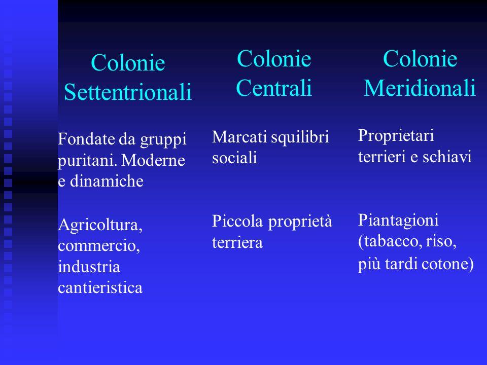 Colonie Settentrionali Fondate da gruppi puritani. Moderne e dinamiche Agricoltura, commercio, industria cantieristica Colonie Meridionali Proprietari