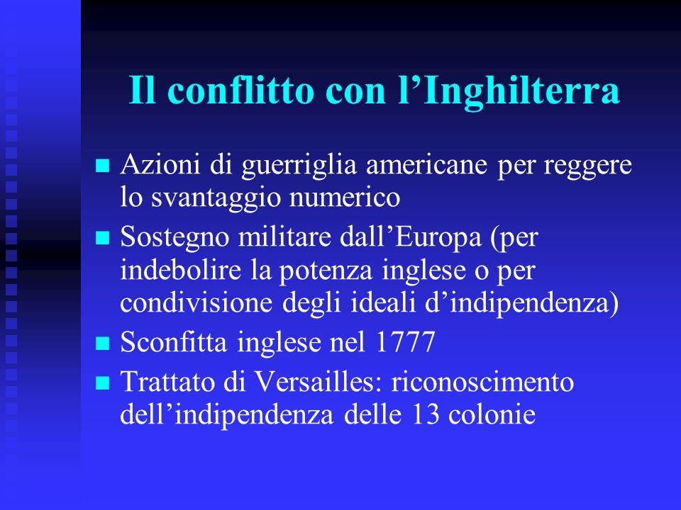 Il conflitto con lInghilterra Azioni di guerriglia americane per reggere lo svantaggio numerico Sostegno militare dallEuropa (per indebolire la potenz
