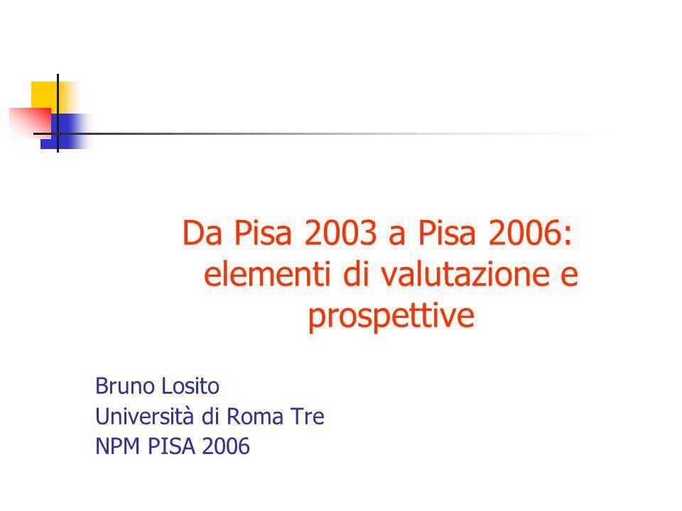 Alcuni risultati di PISA 2003 Comprensione della lettura punteggio medio: 476 (OCSE 494) 5 livelli 5,2 livello 5 (OCSE 8,3) 17,8 livello 4 (OCSE 21,3) 14,8 livello 1 (OCSE 12,4) 9,1 sotto il livello 1 (OCSE 6,7)
