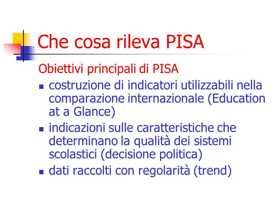 Che cosa rileva PISA Obiettivi principali di PISA costruzione di indicatori utilizzabili nella comparazione internazionale (Education at a Glance) indicazioni sulle caratteristiche che determinano la qualità dei sistemi scolastici (decisione politica) dati raccolti con regolarità (trend)