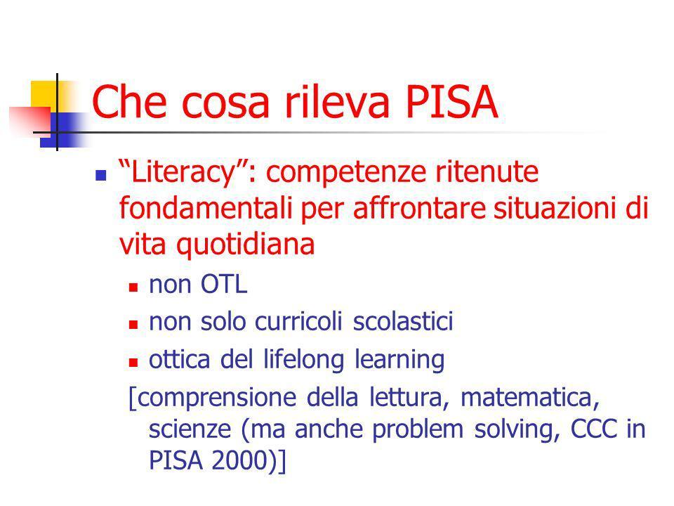 Che cosa rileva PISA Competenza di lettura (PISA 2003): la comprensione e lutilizzazione di testi scritti e la riflessione su di essi al fine di raggiungere i propri obiettivi, sviluppare le proprie conoscenze e potenzialità e svolgere un ruolo attivo nella società.