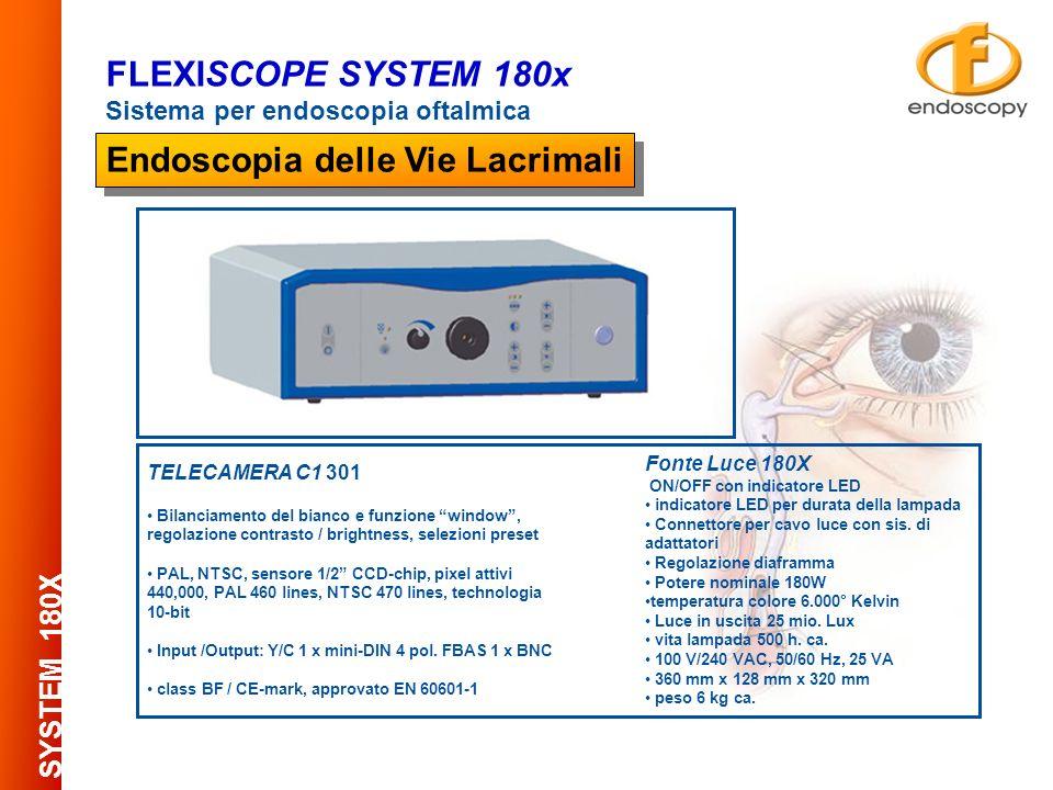 AUTOCLAVABILE at 134° C per 18 minuti Collegabile al sistema FlexiScope e suoi accessori FLEXISCOPE SYSTEM 180x Sistema per endoscopia oftalmica SAFE CONNECTION FIBERSCOPE Endoscopia delle Vie Lacrimali Sistema di connessione L/L con regolazione fine dllallineamento tra la punta del fibroscopio e la punta della cannula delle parti applicate DIAMETRO ESTERNO PIXELS 0,35 mm ( NoN autoclavabile ) 3000 0,5 mm3000