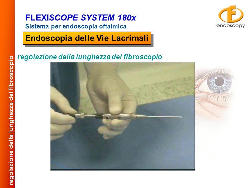 La visualizzazione endoscopica si effettua dilatando le pareti della via lacrimale con una soluzione di irrigazione, tramite una siringa collegata alla via di infusione dei manipoli visualizzazioni FLEXISCOPE SYSTEM 180x Sistema per endoscopia oftalmica Endoscopia delle Vie Lacrimali