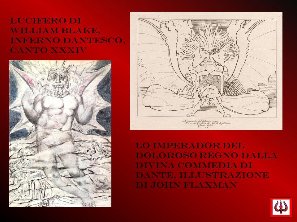 Lucifero di William Blake, Inferno dantesco, canto XXXIV Lo imperador del doloroso regno dalla Divina Commedia di Dante, illustrazione di John Flaxman