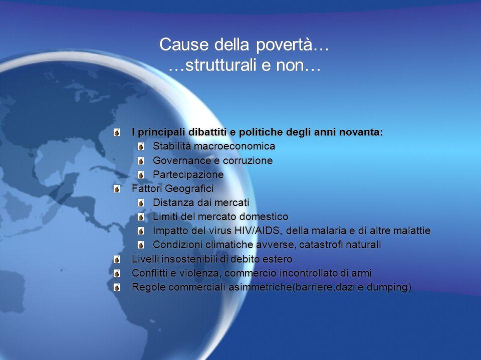 Cause della povertà… …strutturali e non… I principali dibattiti e politiche degli anni novanta: Stabilità macroeconomica Governance e corruzione Parte
