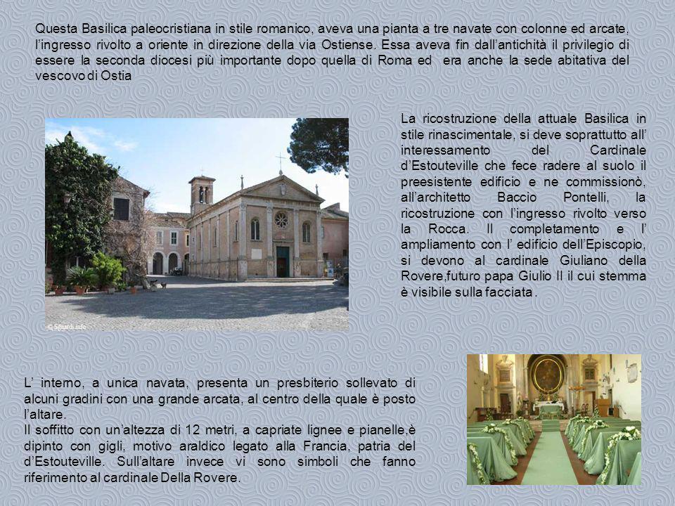 Questa Basilica paleocristiana in stile romanico, aveva una pianta a tre navate con colonne ed arcate, lingresso rivolto a oriente in direzione della via Ostiense.