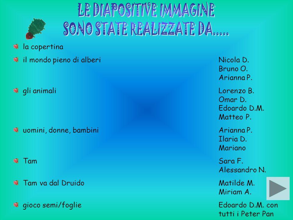 la copertina il mondo pieno di alberiNicola D. Bruno O. Arianna P. gli animaliLorenzo B. Omar D. Edoardo D.M. Matteo P. uomini, donne, bambiniArianna
