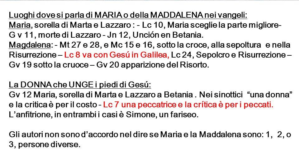Luoghi dove si parla di MARIA o della MADDALENA nei vangeli: Maria, sorella di Marta e Lazzaro : - Lc 10, Maria sceglie la parte migliore- G v 11, morte di Lazzaro - Jn 12, Unción en Betania.