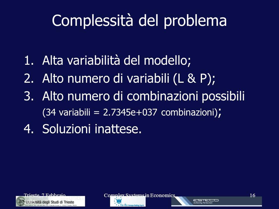 Trieste, 7 Febbraio 2005 Complex Systems in Economics16 Complessità del problema 1.Alta variabilità del modello; 2.Alto numero di variabili (L & P); 3