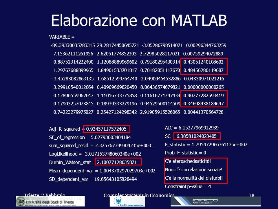 Trieste, 7 Febbraio 2005 Complex Systems in Economics18 Elaborazione con MATLAB VARIABLE = -89.39330035283315 29.28174450645721 -3.05286798514071 0.00