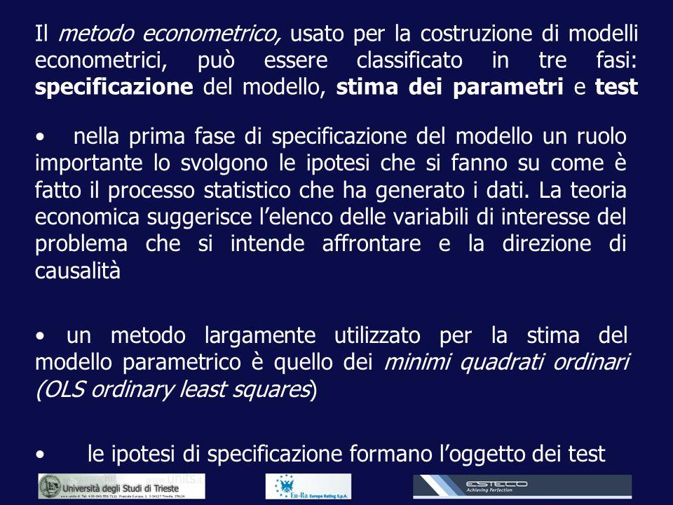 Il metodo econometrico, usato per la costruzione di modelli econometrici, può essere classificato in tre fasi: specificazione del modello, stima dei p