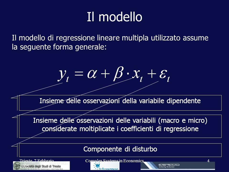 Trieste, 7 Febbraio 2005 Complex Systems in Economics4 Il modello Il modello di regressione lineare multipla utilizzato assume la seguente forma gener