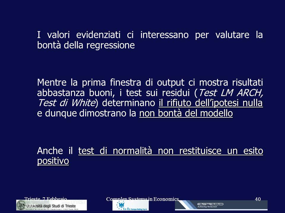 Trieste, 7 Febbraio 2005 Complex Systems in Economics40 I valori evidenziati ci interessano per valutare la bontà della regressione il rifiuto dellipo