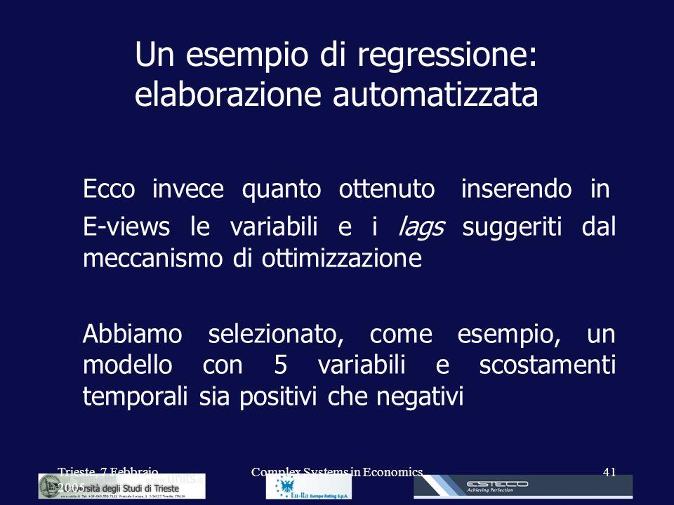 Trieste, 7 Febbraio 2005 Complex Systems in Economics41 Un esempio di regressione: elaborazione automatizzata Ecco invece quanto ottenuto inserendo in
