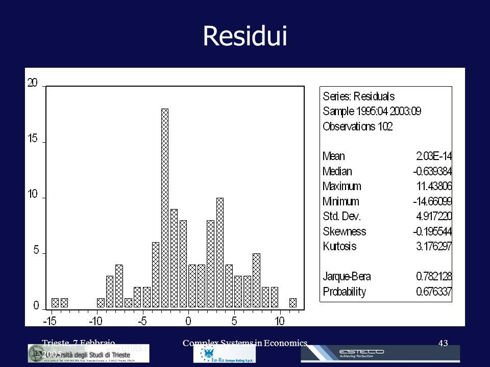 Trieste, 7 Febbraio 2005 Complex Systems in Economics43 Residui