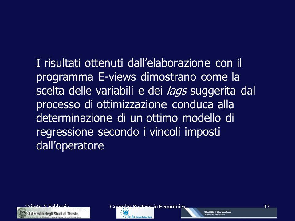 Trieste, 7 Febbraio 2005 Complex Systems in Economics45 I risultati ottenuti dallelaborazione con il programma E-views dimostrano come la scelta delle