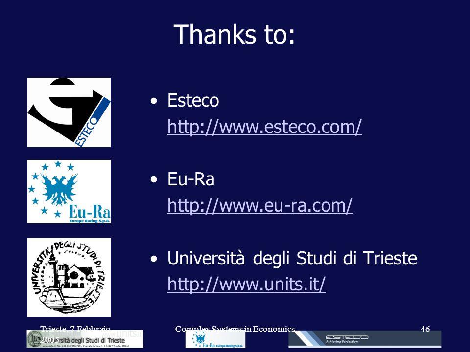 Trieste, 7 Febbraio 2005 Complex Systems in Economics46 Thanks to: Esteco http://www.esteco.com/ Eu-Ra http://www.eu-ra.com/ Università degli Studi di