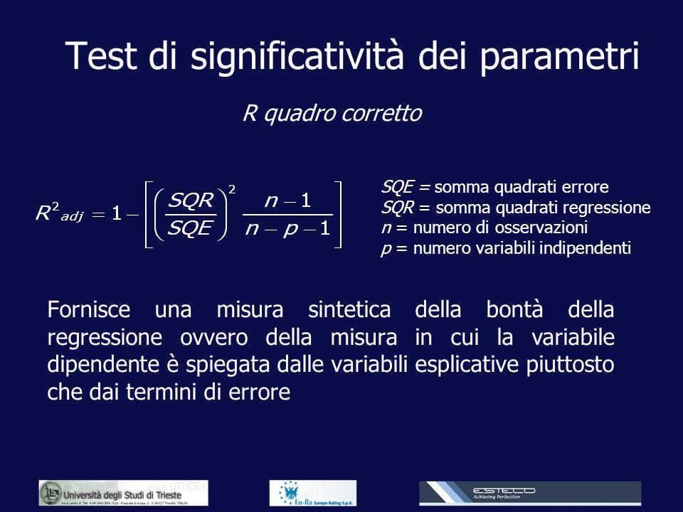 Test di significatività dei parametri R quadro corretto Fornisce una misura sintetica della bontà della regressione ovvero della misura in cui la vari