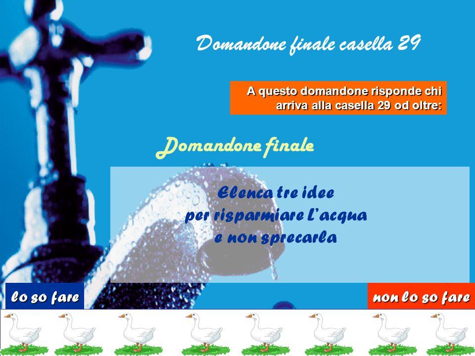 Domande casella 28 Quanta acqua serve per produrre 1 kg di carta? 20 litri 200 litri Quanta pipì fai ogni giorno? Dai 3 ai 7 litri Mezzo litro Quanta