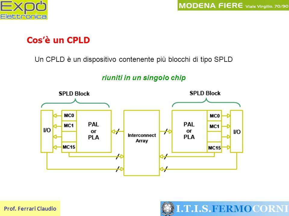 Un CPLD è un dispositivo contenente più blocchi di tipo SPLD Prof. Ferrari Claudio Cosè un CPLD riuniti in un singolo chip