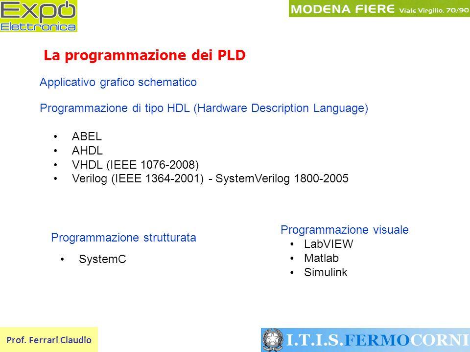 La programmazione dei PLD Prof. Ferrari Claudio Programmazione di tipo HDL (Hardware Description Language) ABEL AHDL VHDL (IEEE 1076-2008) Verilog (IE