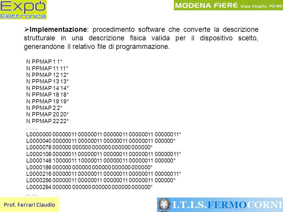 Prof. Ferrari Claudio Implementazione: procedimento software che converte la descrizione strutturale in una descrizione fisica valida per il dispositi