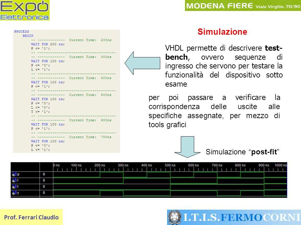Prof. Ferrari Claudio Simulazione post-fit VHDL permette di descrivere test- bench, ovvero sequenze di ingresso che servono per testare la funzionalit
