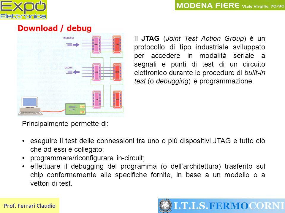 Prof. Ferrari Claudio Download / debug Il JTAG (Joint Test Action Group) è un protocollo di tipo industriale sviluppato per accedere in modalità seria