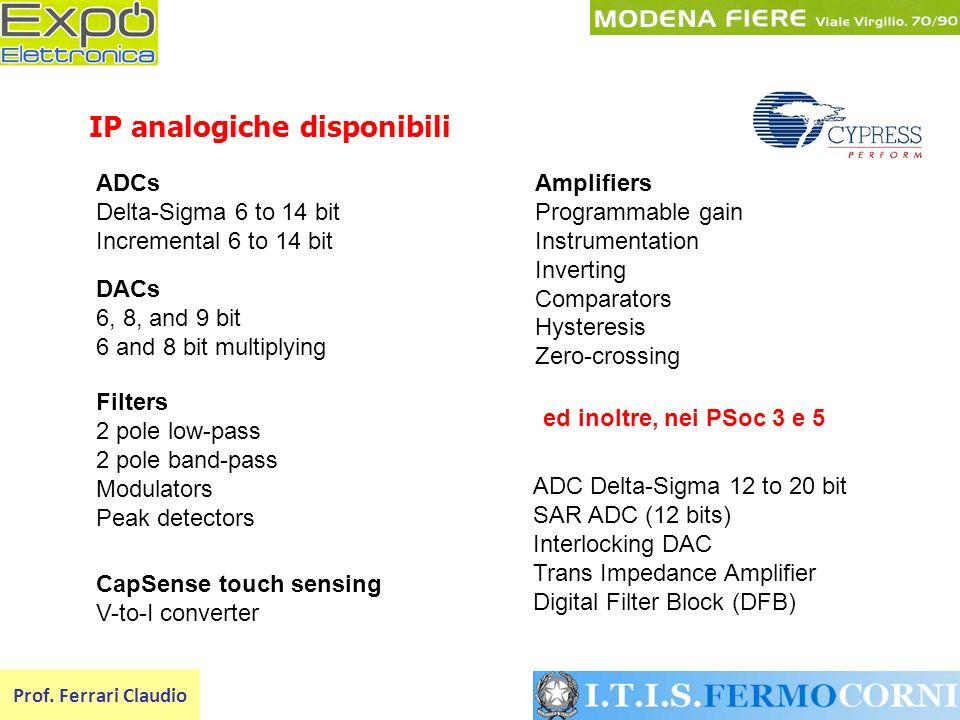 IP analogiche disponibili Prof. Ferrari Claudio Filters 2 pole low-pass 2 pole band-pass Modulators Peak detectors Amplifiers Programmable gain Instru