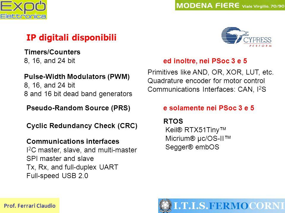 IP digitali disponibili Prof. Ferrari Claudio Pseudo-Random Source (PRS) Timers/Counters 8, 16, and 24 bit Pulse-Width Modulators (PWM) 8, 16, and 24