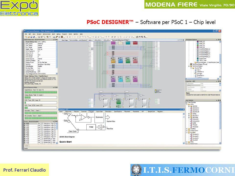 PSoC DESIGNER – Software per PSoC 1 – Chip level Prof. Ferrari Claudio