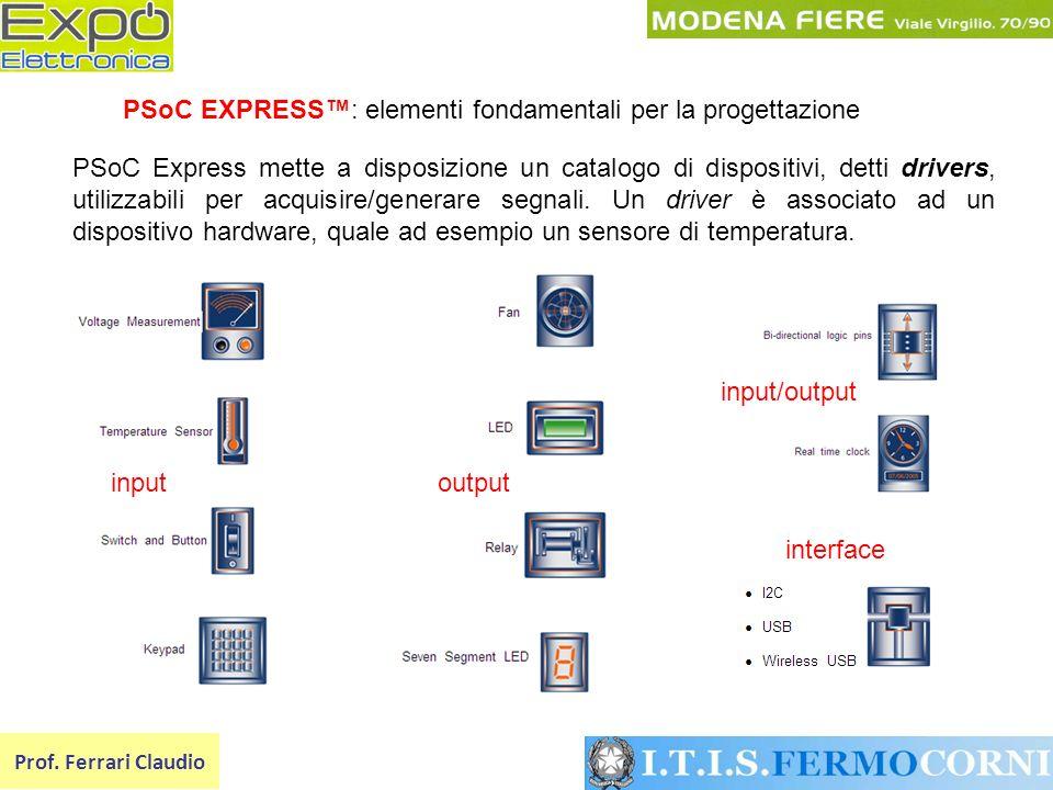 Prof. Ferrari Claudio PSoC EXPRESS: elementi fondamentali per la progettazione PSoC Express mette a disposizione un catalogo di dispositivi, detti dri