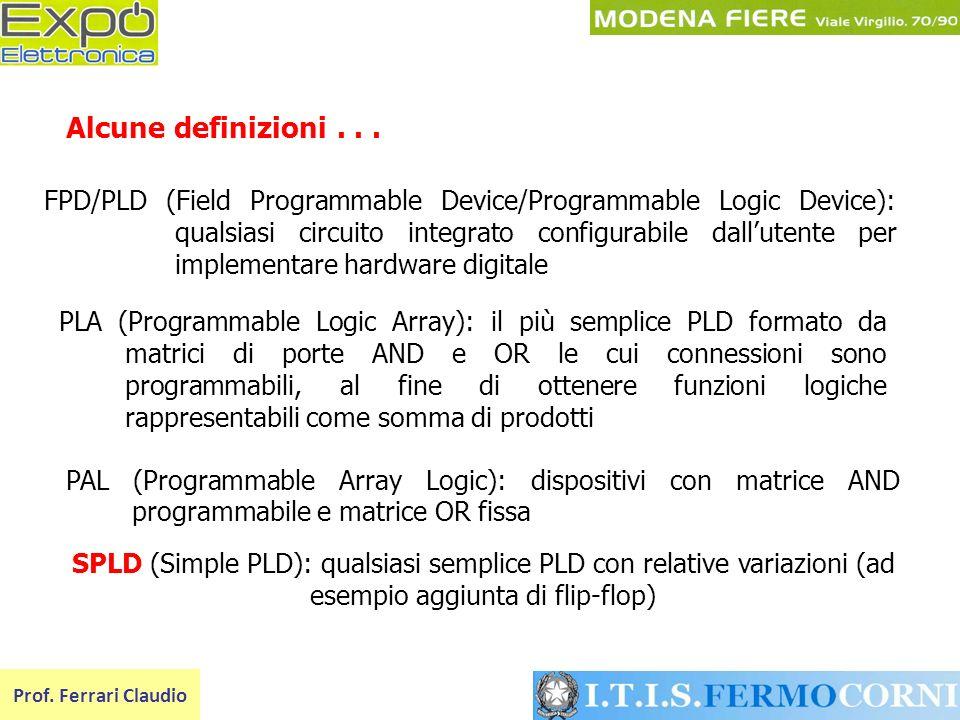 FPD/PLD (Field Programmable Device/Programmable Logic Device): qualsiasi circuito integrato configurabile dallutente per implementare hardware digital