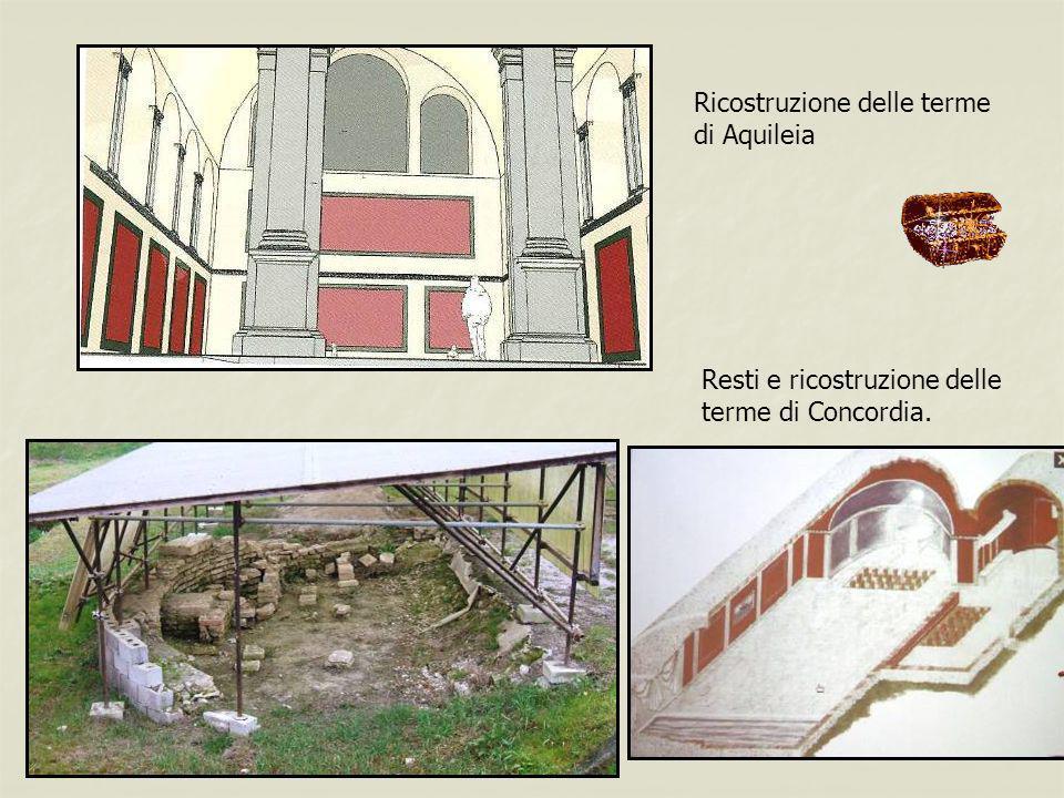 Ricostruzione delle terme di Aquileia Resti e ricostruzione delle terme di Concordia.